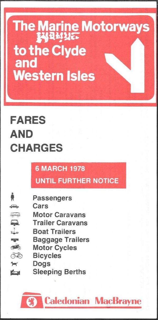 Caledonian MacBrayne - Fares and Charges 1978/3/6 - leaflet